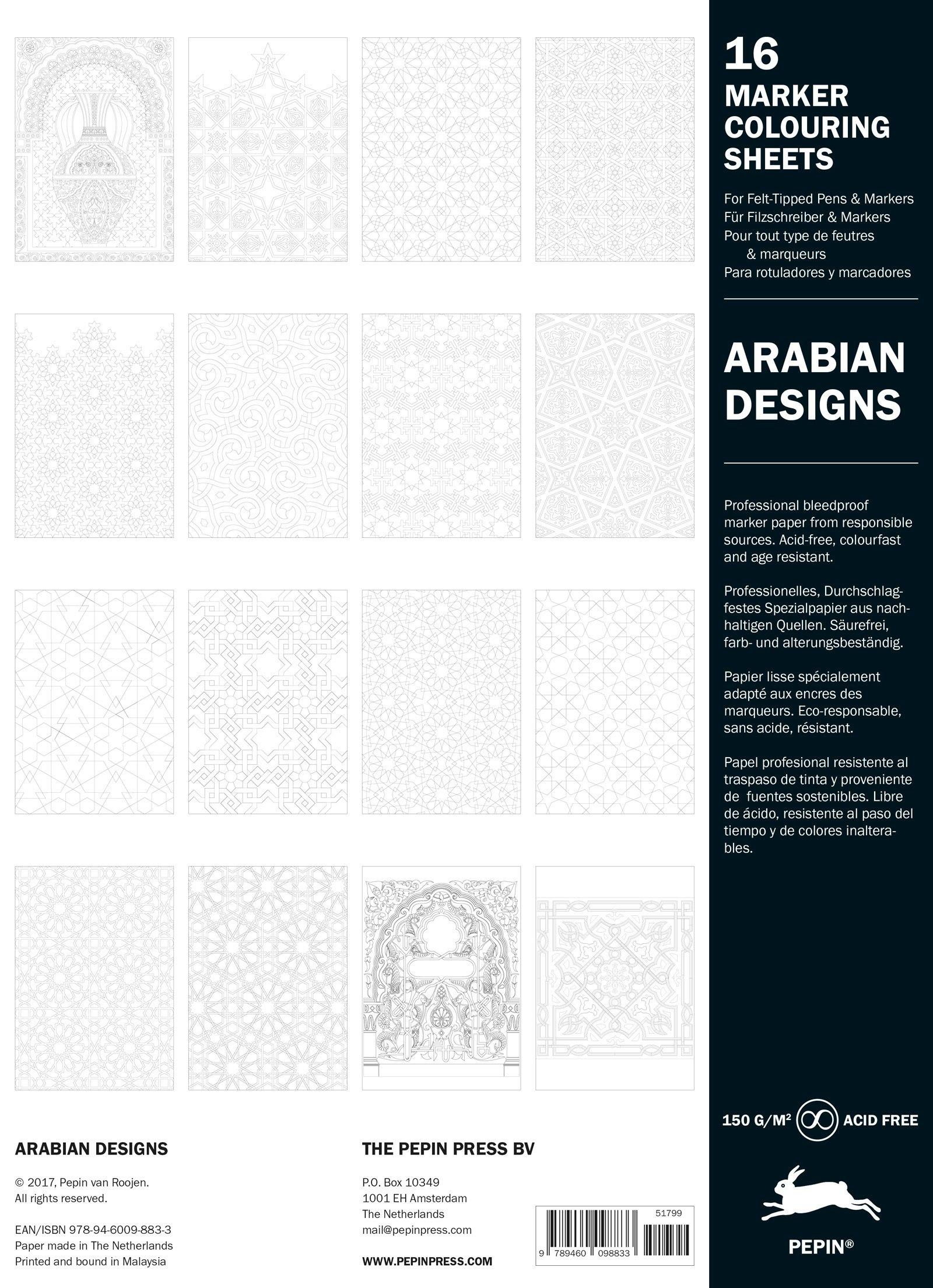 Arabian Patterns: Marker Colouring Sheets Book: 16 marker