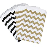 Outside the Box Papers Black and Gold Chevron Treat Sacks 5.5 x 7.5 48 Pack Black, Gold, White
