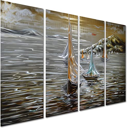 Pure Art Paper Boats in The Ocean – Sea Nautical Metal Wall Art Decoration – Beach Themed Hanging Sculpture – Set of 4 Panels of 47 x 24