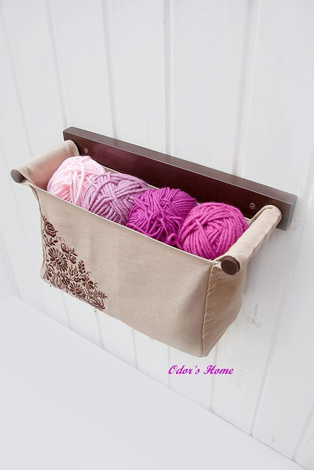 Wall hanging knitting needle case - knitting project bag with embroidered Hungarian Kalocsa embroidery in chocolate brown colour