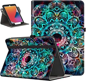 IKEVER iPad 10.2 Case 2020 8th Generation iPad Cases, iPad 7th Gen Case with 360 Degree Rotating, Shockproof Smart Cover for iPad 10.2 Inch, Mandula