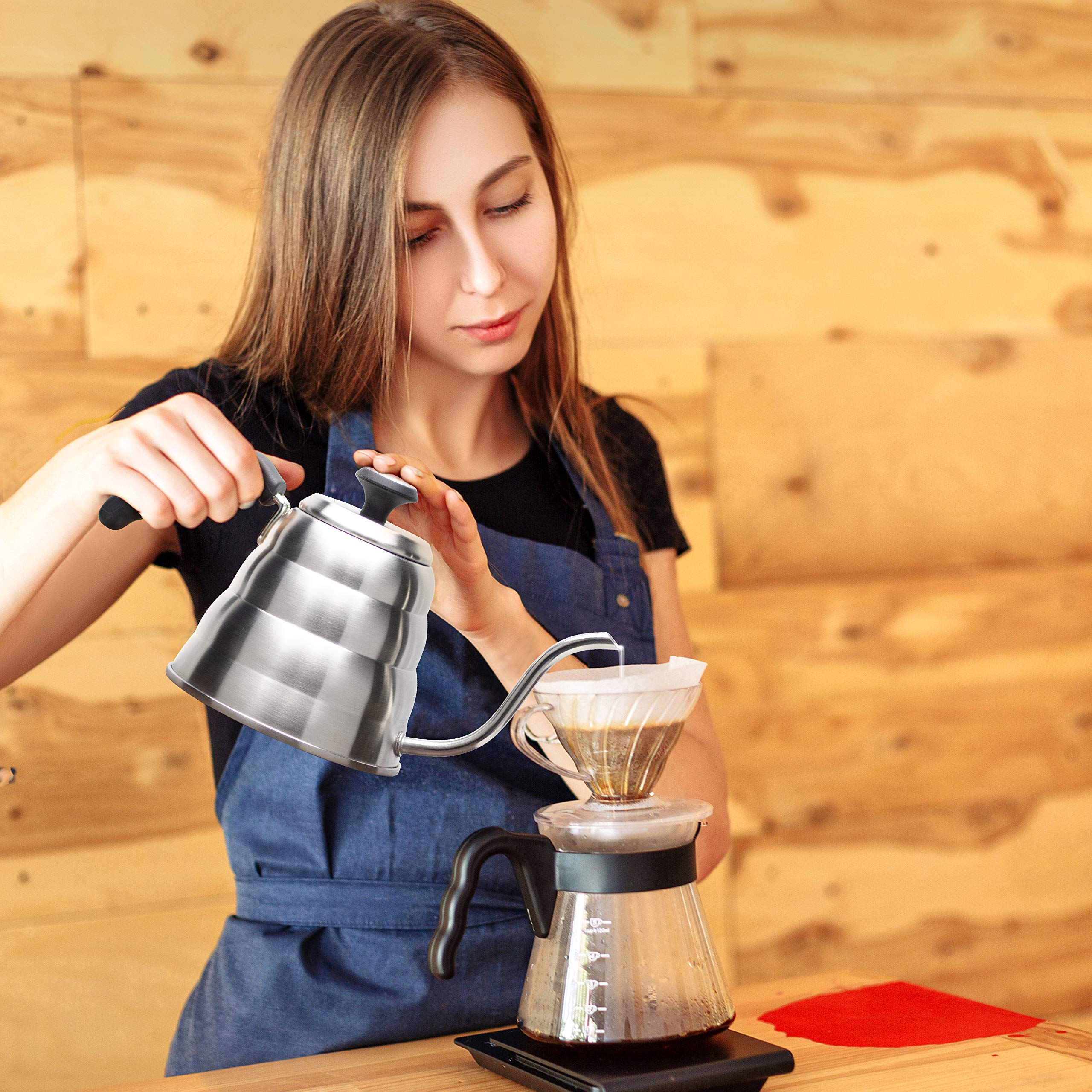 Pour Over Coffee Kettle with Outstanding Thermometer (40floz) - Gooseneck Kettle - Triple Layer Stainless Steel Bottom Works on any Heat Source for Drip Coffee and Tea by Primica (Image #4)