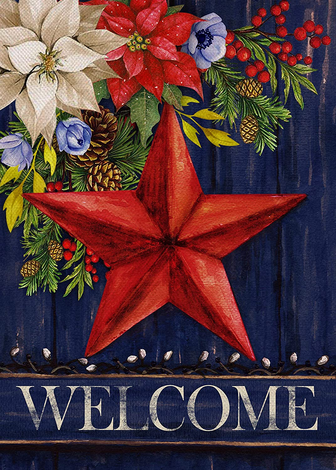 Furiaz Barn Star Christmas Garden Flag, Xmas Flower Home Decorative House Yard Small Welcome Flag Country Primitive Decor Double Sided, Fall Winter Outdoor Decorations Seasonal Outside Flag 12 x 18