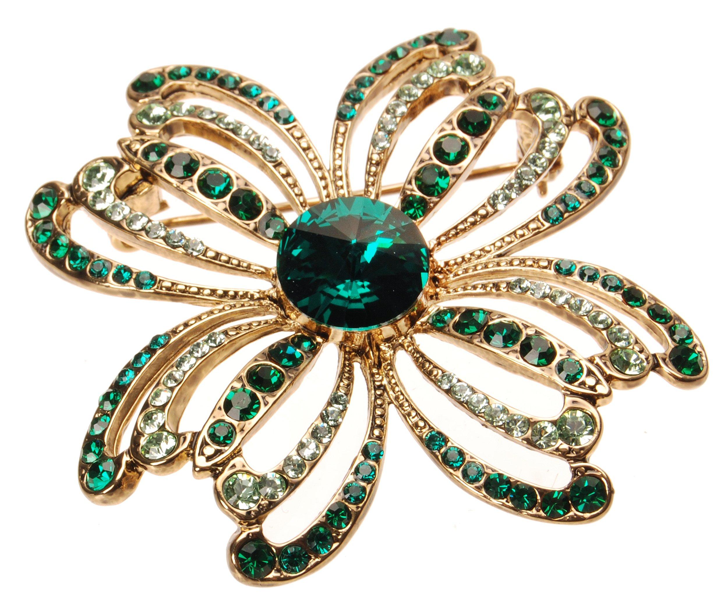 L. Erickson Crystal Clover Brooch - Fern Green/Emerald/Chrysolite/Antique Gold