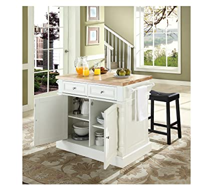 Merveilleux Crosley Oxford Butcher Block Top Kitchen Island White
