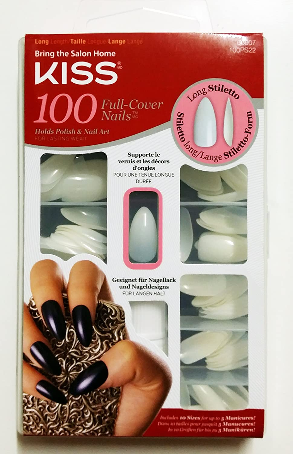Amazon.com : Kiss Long Stiletto 100 Full Cover Nails #66007 100PS22 ...