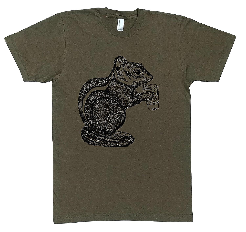 Mens T Shirt - Chipmunk Drinking Coffee Tshirt - Cool Funny Printed Short Sleeve Tee S M L XL XXL Army Green