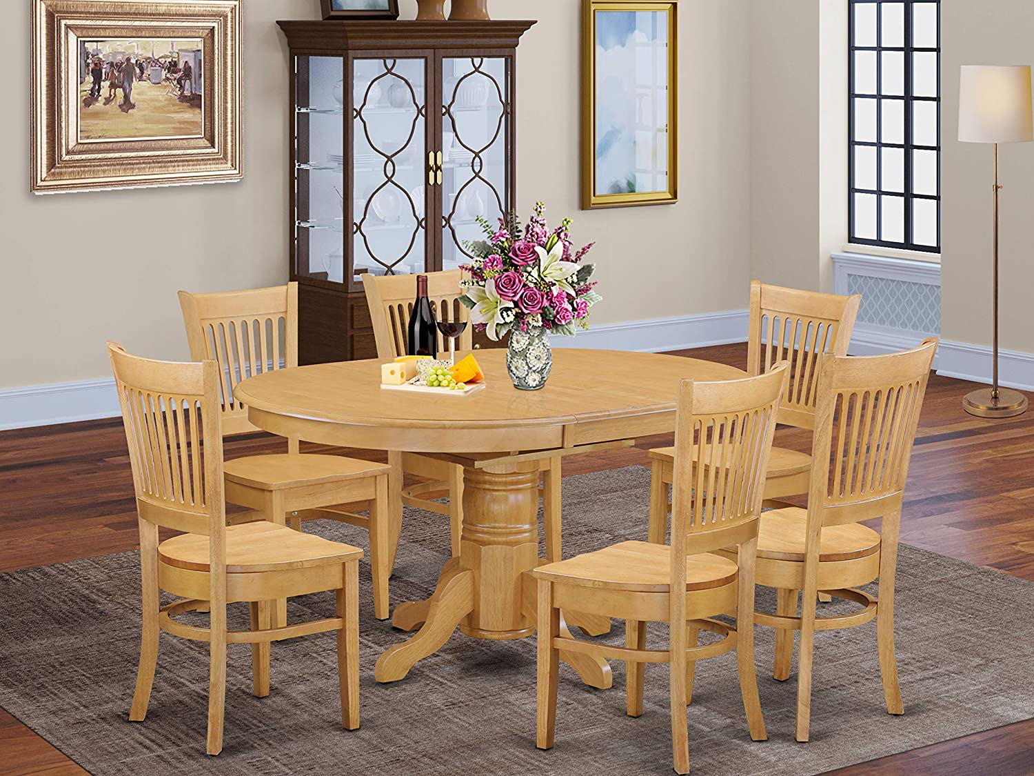 East West Furniture dining set 9 Great Wooden dining room chairs   A  Beautiful mid century dining table  Oak Color Wooden Seat Oak Butterfly  Leaf ...