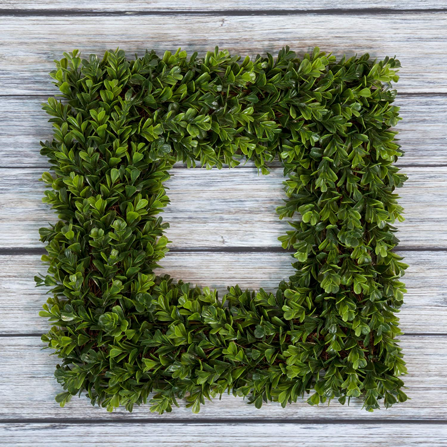 Pure Garden Boxwood Artificial Wreath For The Front Door Home Décor Uv Resistant 16 5 Inches Square 16 5x3 Green Home Kitchen