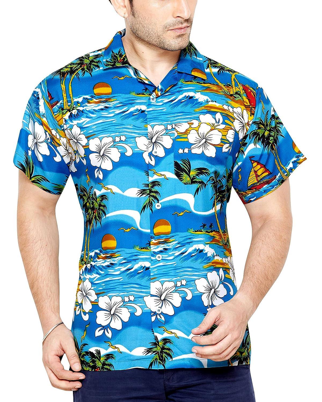 TALLA L. CLUB CUBANA Camisa Hawaiana Florar Casual Manga Corta Ajuste Slim para Hombre