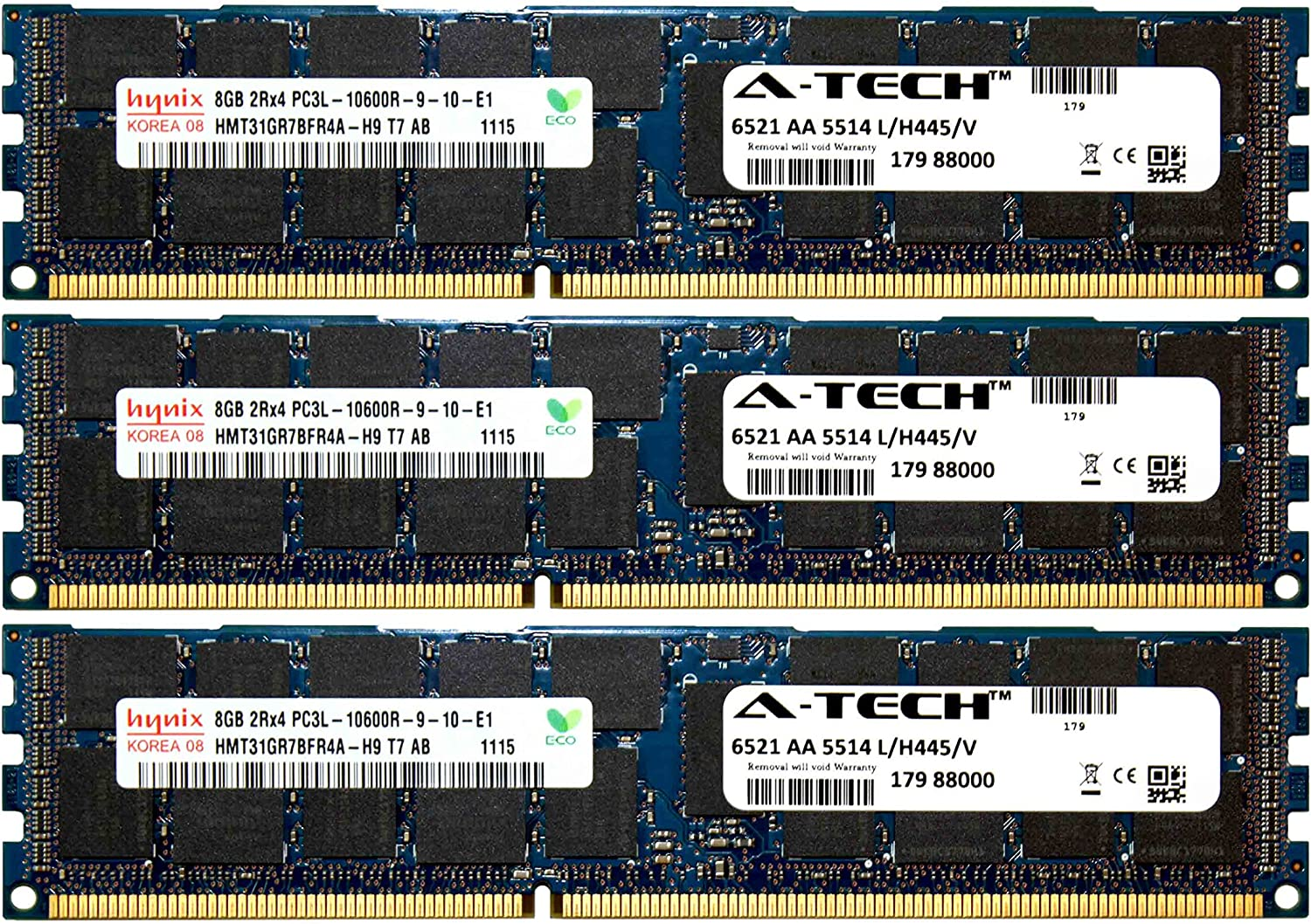 A-Tech Hynix 24GB Kit 3X 8GB PC3-10600 1.35V for Dell Precision Workstation Snpp9rn2c/8g A2626072 A2626093 A2862069 A2862074 A3721482 T5600 T7500 T7600 T5500 T5600 T7500 T7600 T5500 Memory RAM