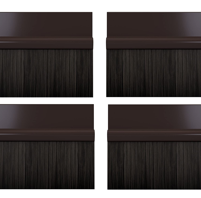 STORMGUARD 02AM0041000B Bds Self Adhesive Bottom of The Door Brush Draught Seal, Brown, 1 m, Set of 4 Pieces Srormguard