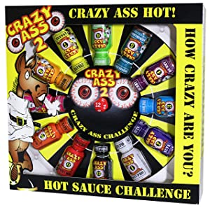 Crazy Ass 2 Hot Sauce Gift Set - Gourmet Challenge Dice Game - Prefect Premium Gourmet Gifts for Men - Try If You Dare!