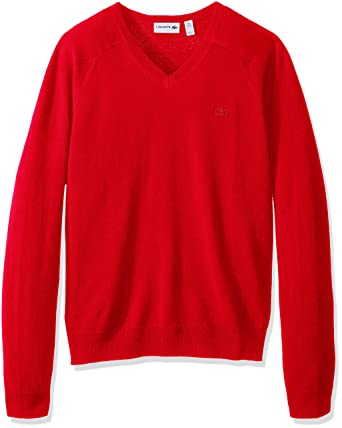 Lacoste Mens Long Sleeve Cashmere V Neck Sweater At Amazon Mens
