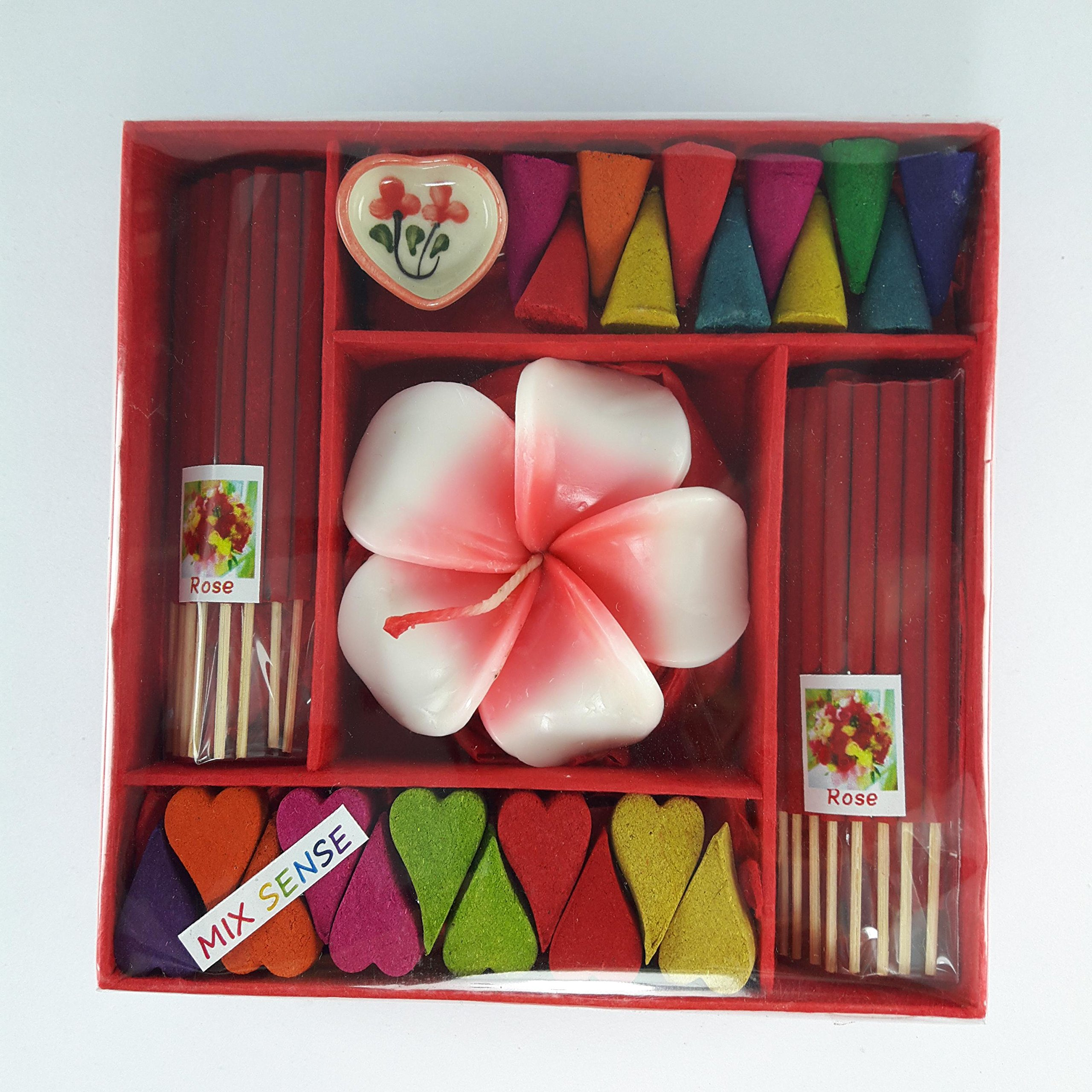 kornkorn87 Incense Spa Aroma Rose Fragrance Cones Burner Holder Thai Scent Relax Sticks Ceramic Home Gift