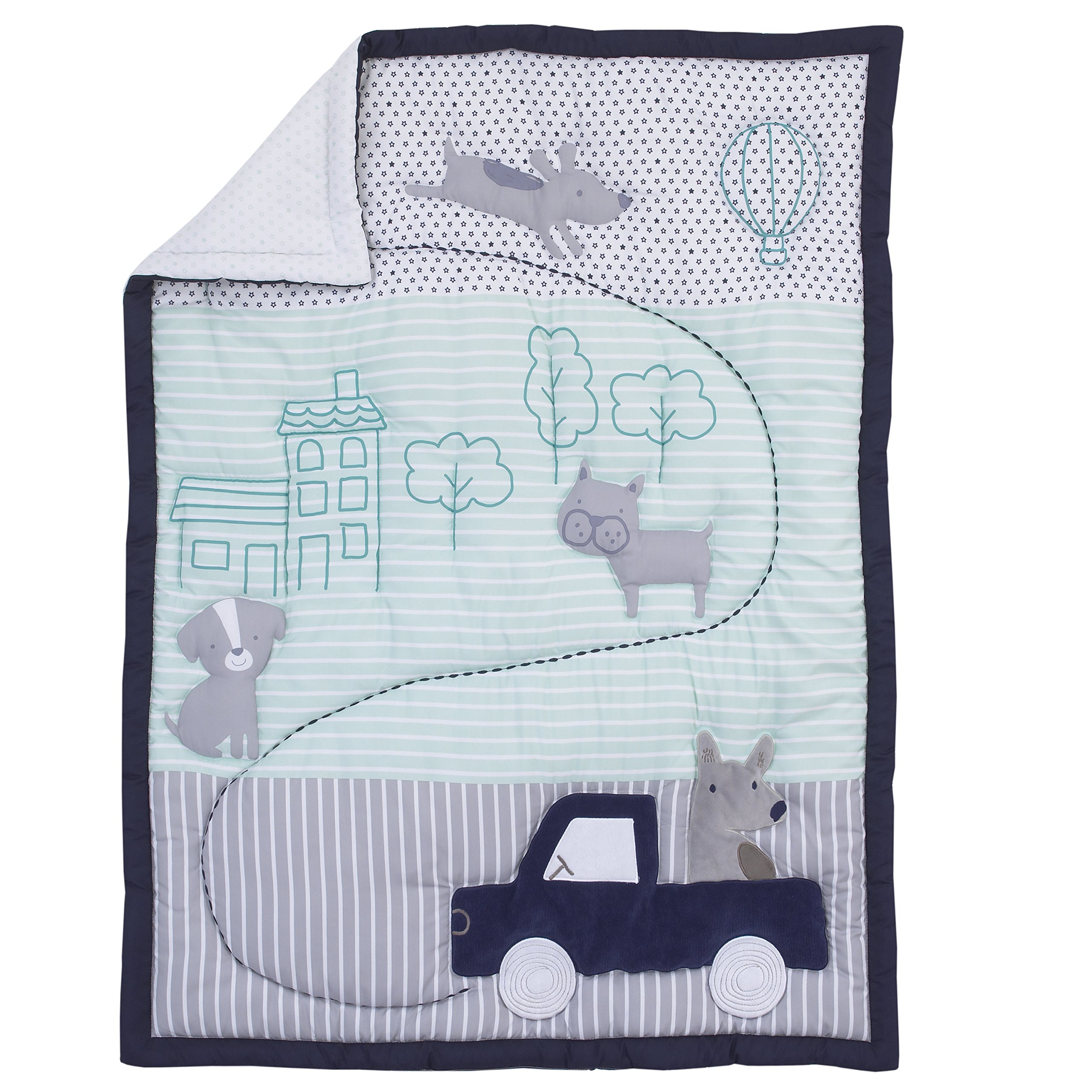 3 Piece Grey Navy Blue Aqua Boys Cars Crib Bedding Set, Newborn Animal Themed Nursery Bed Set Infant Child Gray Dogs Cats House Trees Blanket Comforter Bold Border Stripe Pattern, Polyester Cotton