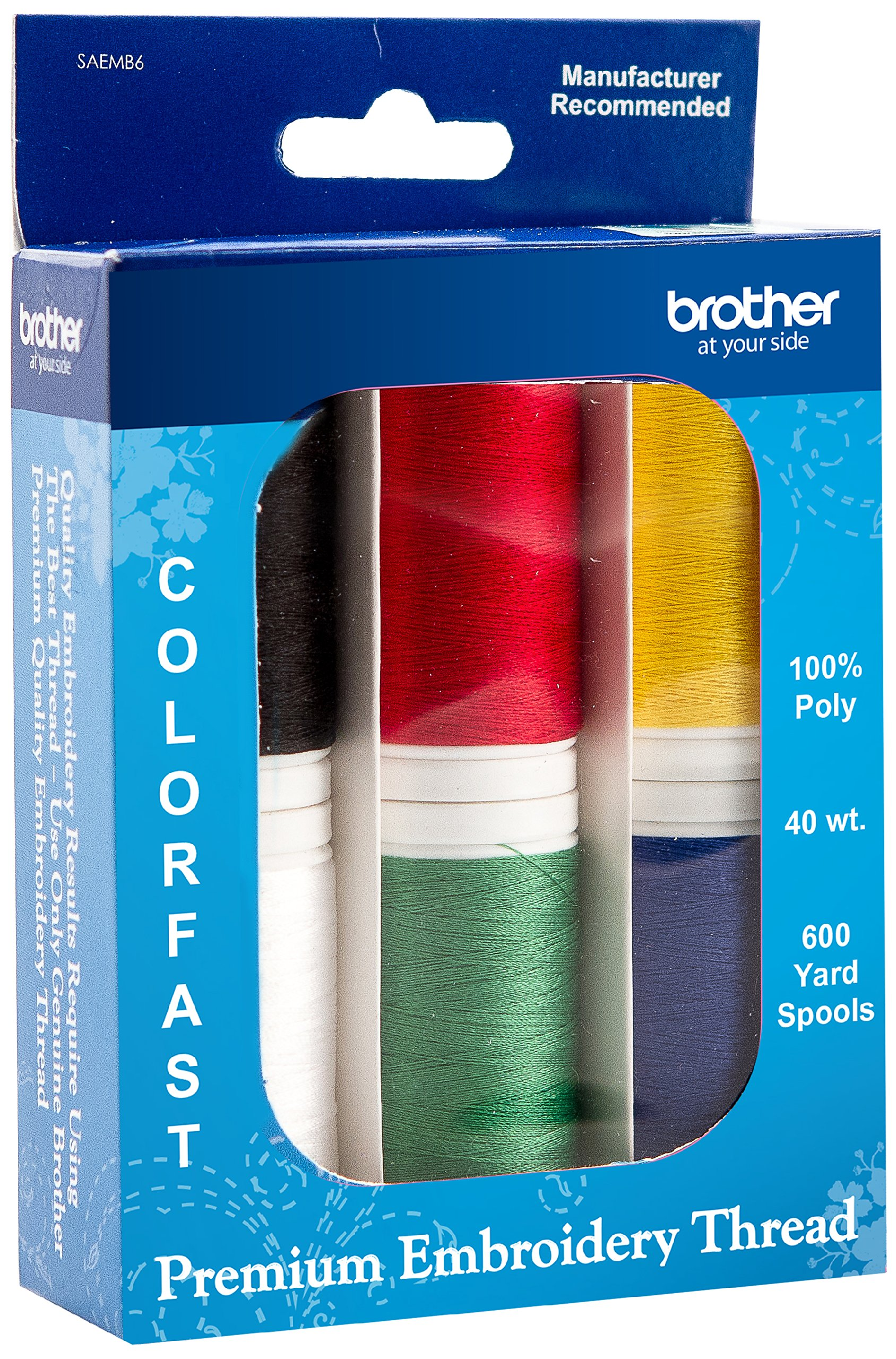 Brother SAEMB6 Premium Embroidery Thread, 6 spools, 100 Percent Polyester by Brother