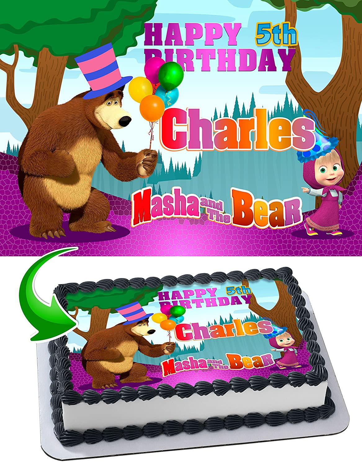 Masha And The Bear Birthday Cake Personalized Cake Toppers Edible