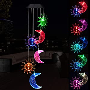 Solar Sun and Moon Wind Chimes Outdoor - Waterproof Solar Powered LED Changing Light Color Moons and Suns Mobile Romantic Wind Chime for Home,Balcony,Party,Festival,Night Garden Decoration(Blackboard)