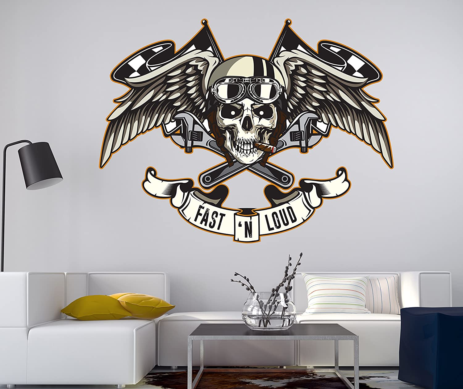 Amazon com biker skull wall decal motorcycle wall art vinyl riders wall decor cg059 42 width x 35 height home kitchen