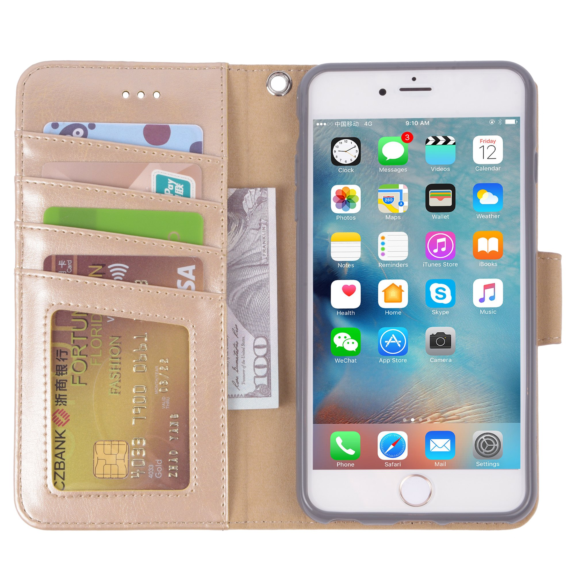 Iphone 6s Plus Case, iphone 6 plus case, Arae [Wrist Strap] Flip Folio [Kickstand Feature] PU leather wallet case with ID&Credit Card Pockets For Apple Iphone 6 plus/6S Plus 5.5 (champaign gold) by Arae (Image #4)