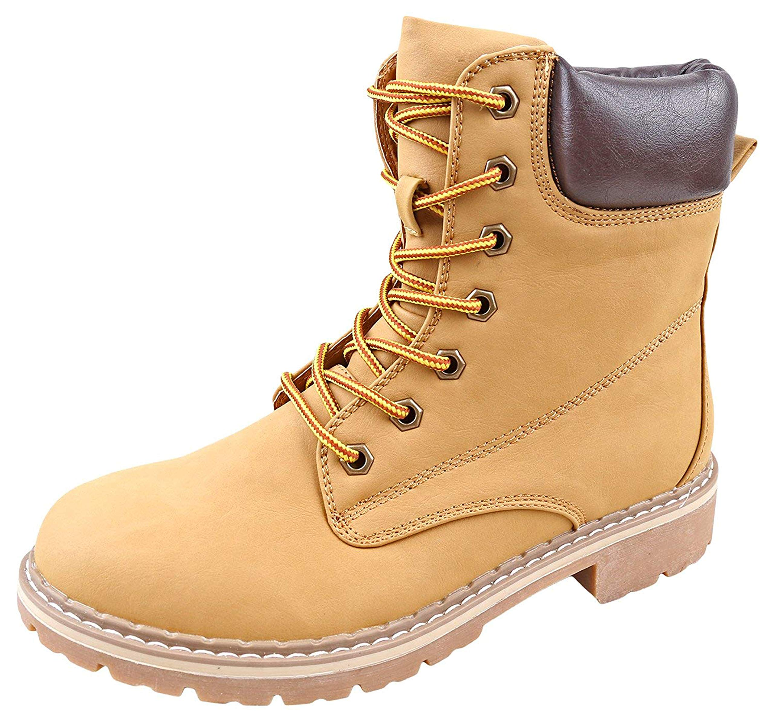 Forever Women's Ankle High Combat Hiking Boots-3,Camel,8.5