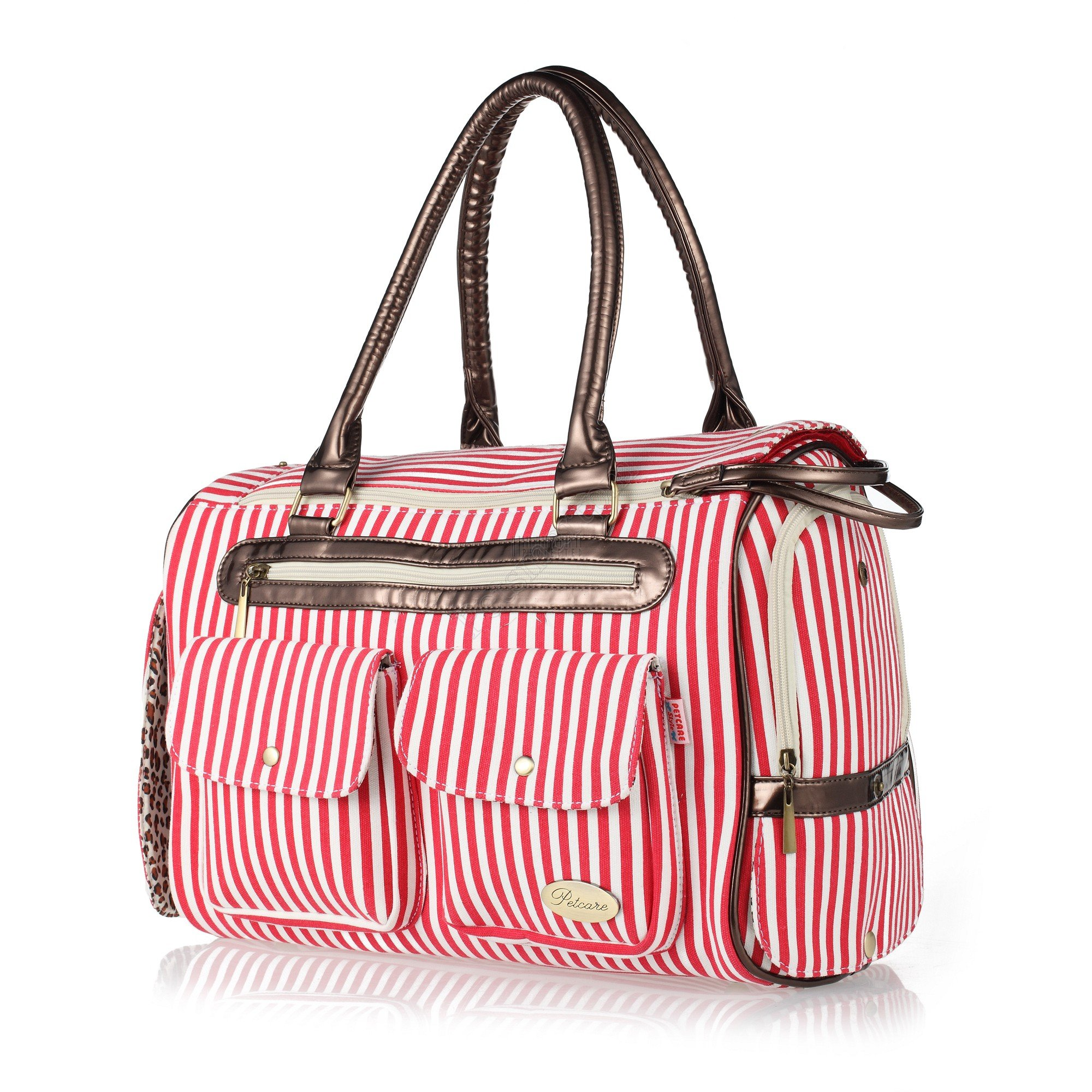 Petsmartpm 223RDT Red & White Stripe Dog Carriers Bag Pet Totes Purse Puppy Handbag Cat Cage Doggy Pouch