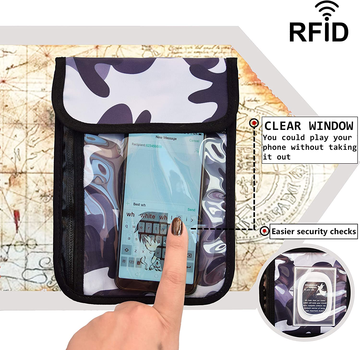 Travel Neck Wallet Neck Pouch with RFID Blocking Black Concealed Passport Holder to Keep Your Cash And Documents Safe When Traveling