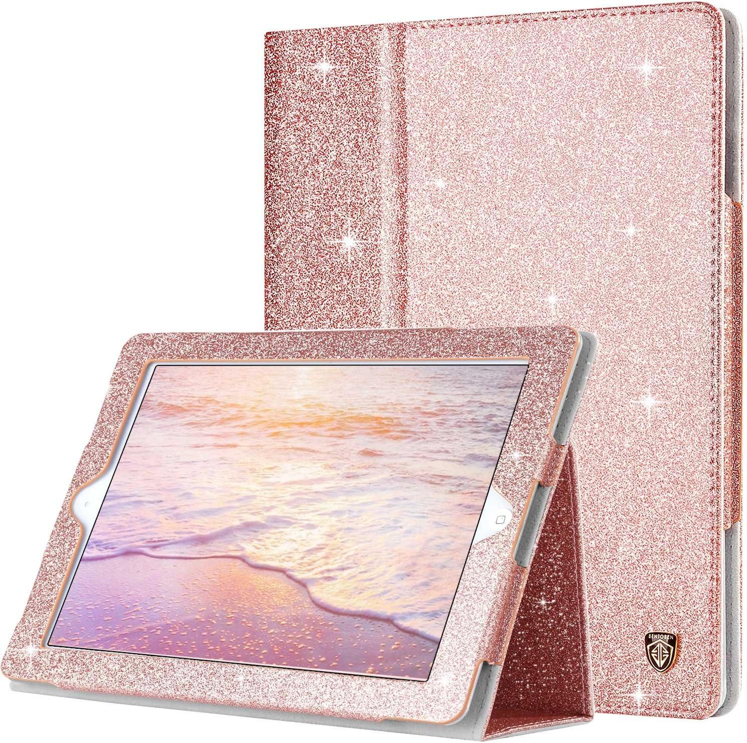 BENTOBEN iPad 2 Case, iPad 3 Case, iPad 4 Case, Glitter Sparkly Slim Lightweight Faux Leather Folio Folding Stand Smart Cover Stylus Holder Auto Wake/Sleep Protective Case for iPad 2/3/4, Rose Gold