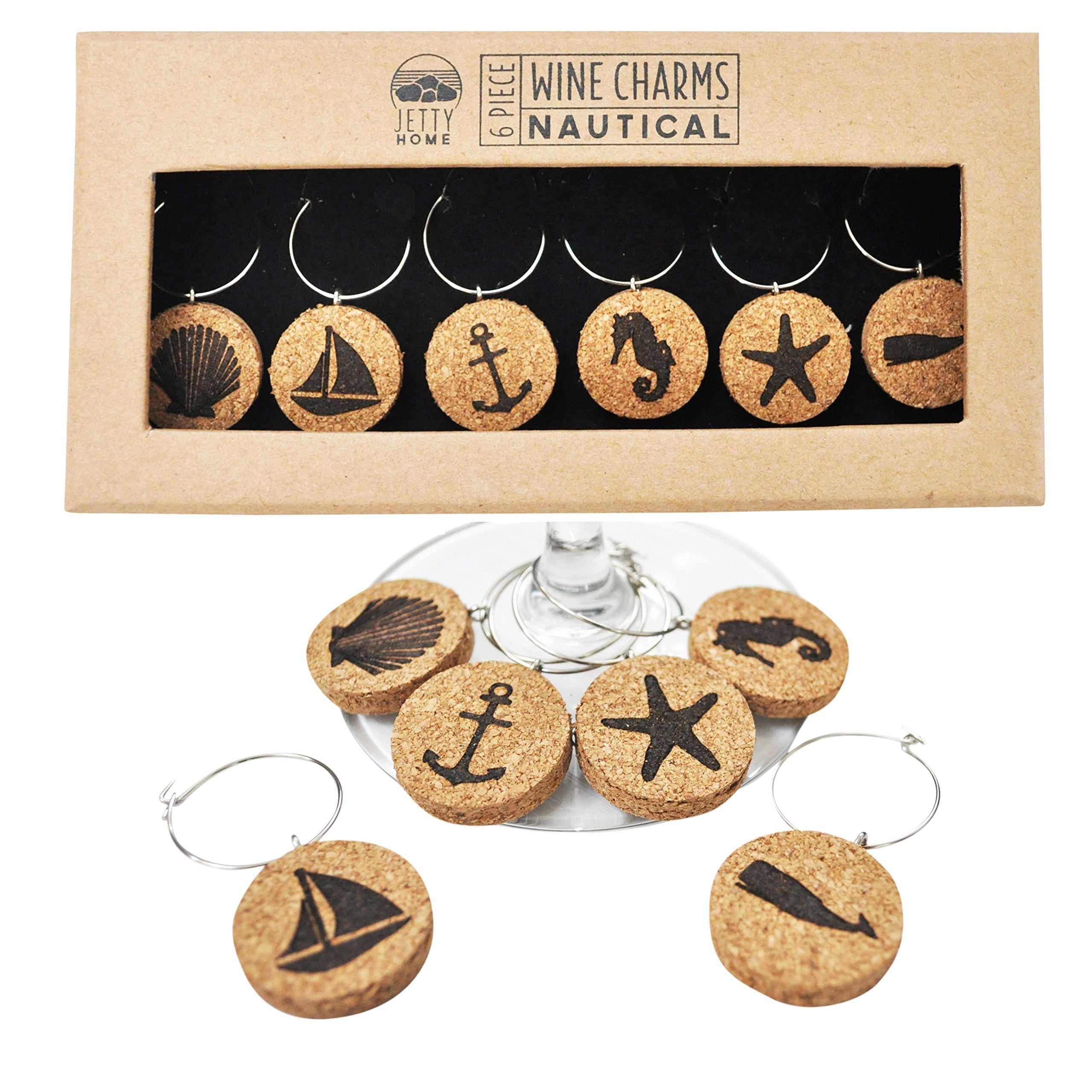 Jetty Home 6 Piece Nautical Beach Wine Glass Charm Gift Set, Cork