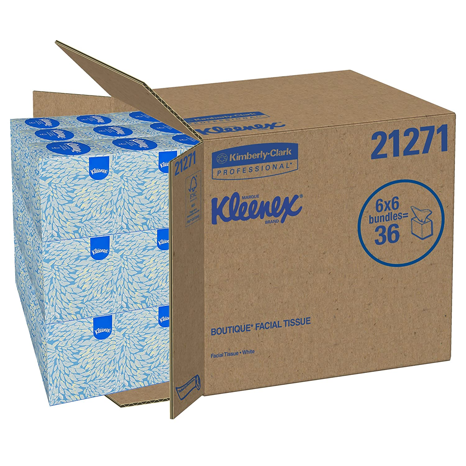 "Amazon.com: Kimberly-Clark 21271 Kleenex Boutique Facial Tissue Mouchoirs,  8.4"" Length x 8"" Width, White, 6 Boxes of 95 sheets (Pack of 570):  Industrial & ..."