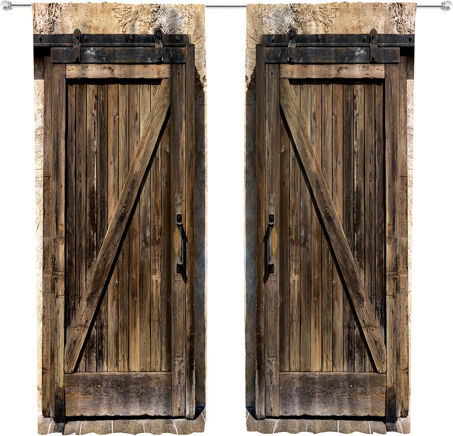 Riyidecor Retro Wooden Barn Door Curtains Rod Pocket Woods Brown Countryside Style Grunge Garage Lodge Farmhouse Printed Living Room Bedroom Window Drapes Treatment Fabric (2 Panels 52 x 84 Inch