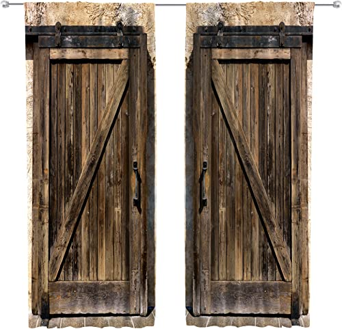 Riyidecor Retro Wooden Barn Door Curtains Rod Pocket Woods Brown Countryside Style Grunge Garage Lodge Farmhouse Printed Living Room Bedroom Window Drapes Treatment Fabric 2 Panels 52 x 84 Inch