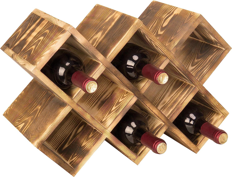 Amazon Com Mygift Countertop Burnt Wood 8 Bottle Wine Rack Home Kitchen