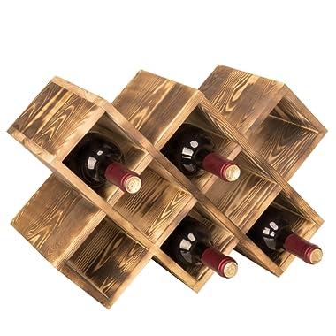 MyGift Countertop Burnt Wood 8-Bottle Wine Rack