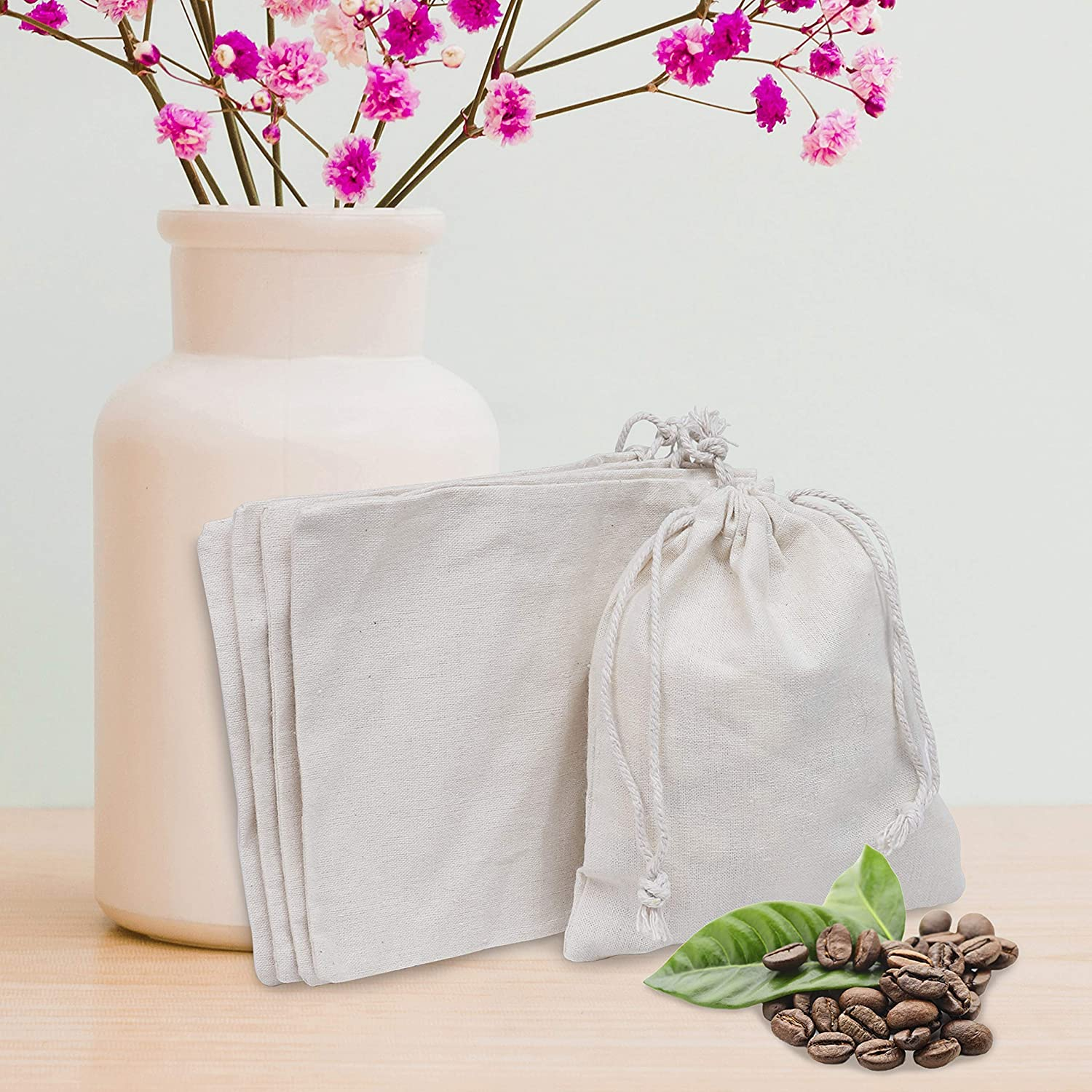 Wedding Favour Bags- L15 X W12.5cm Vegetables Eco Friendly Reusable Produce Bags for Culinary Use Fruits Small,10 Pack Spices All Purpose Washable Natural Cotton Muslin Double Drawstring Bags