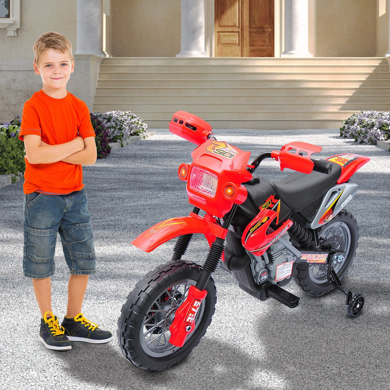 Qaba 6V Kids Electric Battery-Powered Ride-On Motorcycle