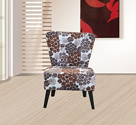Container Furniture Direct Emma Collection Modern Armless Upholstered Linen  Floral Fabric Living Room Accent Chair, Brown