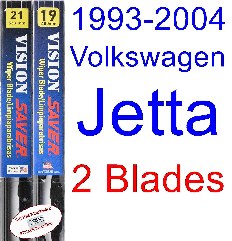 1993-2004 Volkswagen Jetta Replacement Wiper Blade Set/Kit (Set of 2 Blades) (Saver Automotive Products-Vision Saver) (1994,1995,1996,1997,1998,1999,2000 ...