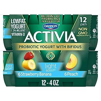 Dannon Activia Lowfat Yogurt, Strawberry/Banana & Peach Variety Pack, 4 Ounce (