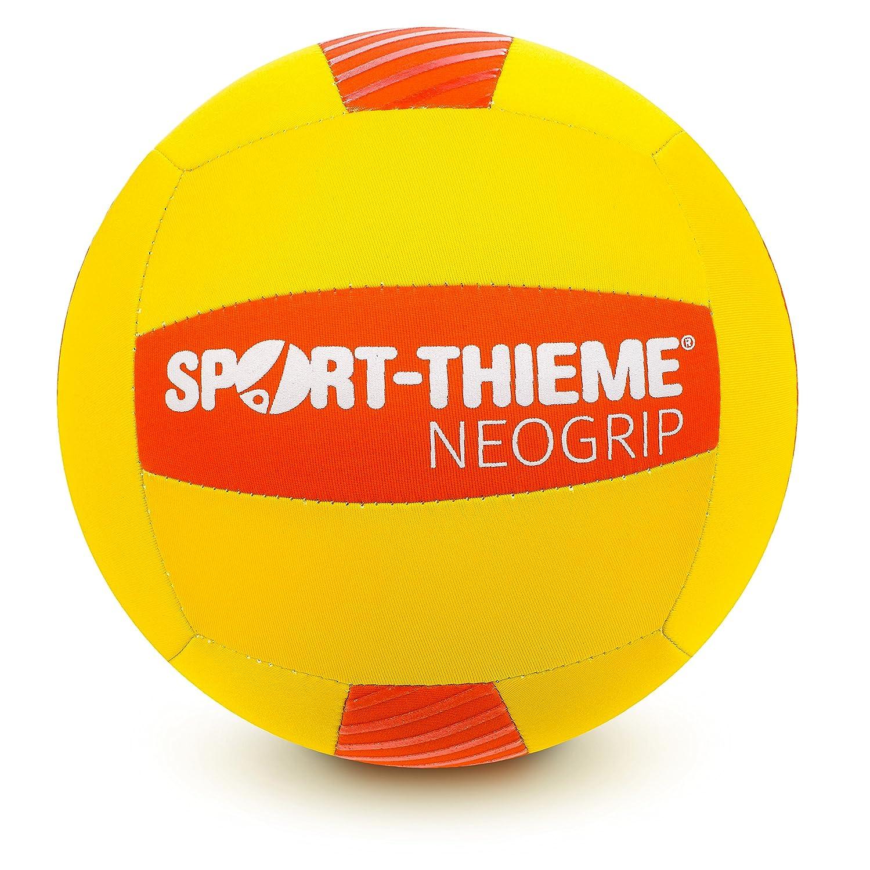 Sport-Thieme Neopren Soft-Beachvolleyball | Beach- / Funball | Indoor/Outdoor | Griffig, Weich, Wasserresistent | Grün-Blau/Gelb-Orange | ø 22 cm | 220 g | Nadelventil, Ballblase