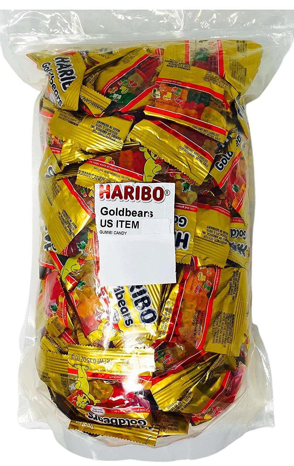 Haribo Goldbear Gummi Bears Original Mini Snack Sized Bulk Treats over 6 Lb - 250 (.35 oz) Pouches Perfect for Lunches, Halloween Trick or Treat, Office