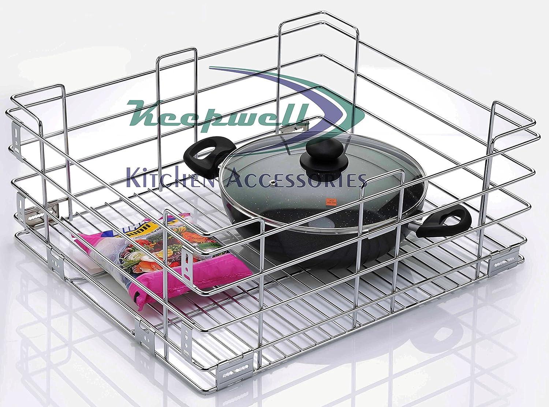 buy keepwell stainless steel kitchen plain basket kitchen trolley rh amazon in stainless steel basket for kitchen steel basket for kitchen utensils
