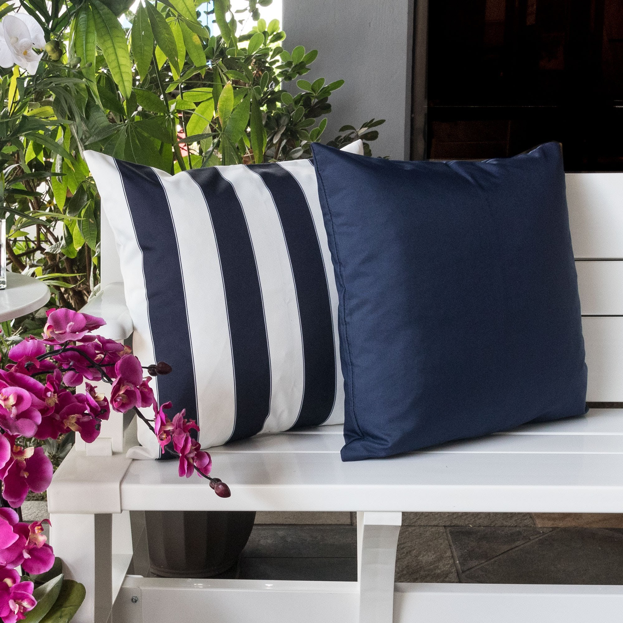 Homey Cozy Outdoor Throw Pillow Cover Classic Solid Navy Blue Large