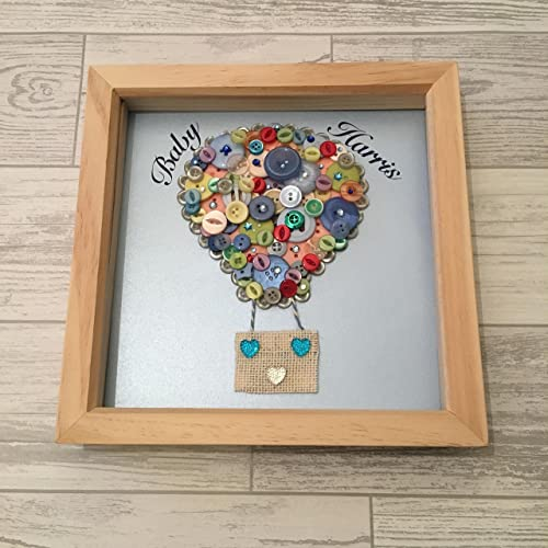 Hot Air Balloon Button Art In Frame 9x9 New Baby Gift Created By