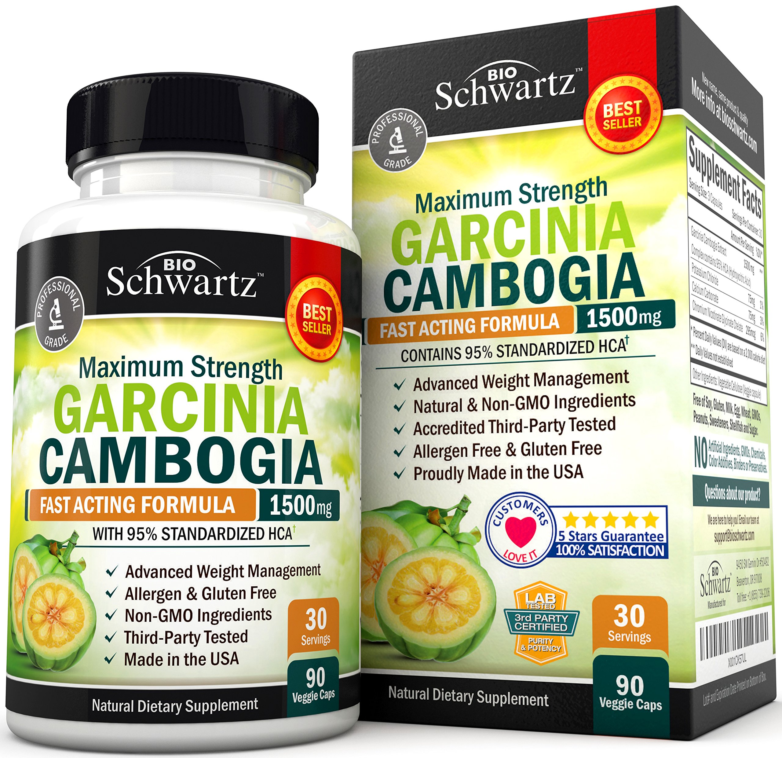 Garcinia Cambogia 95% HCA Pure Extract with Chromium. Fast Acting Appetite Suppressant, Extreme Carb Blocker & Fat Burner Supplement for Weight Loss & Fat Metabolism Best Garcinia Cambogia Diet Pills by BioSchwartz