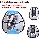 EURONOVITA' ® Schienale ergonomico supporto lombare con fascette regolabili per sedie sedile auto e poltrona da ufficio
