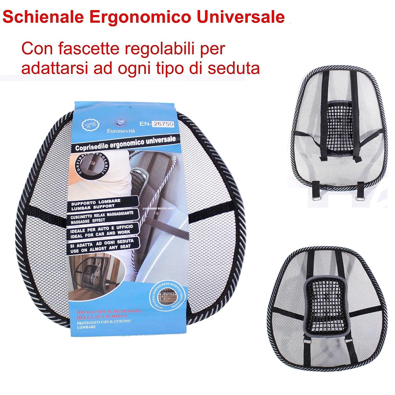 EURONOVITA Schienale ergonomico supporto lombare con fascette regolabili per se sedile auto e poltrona da ufficio Amazon Salute e cura della