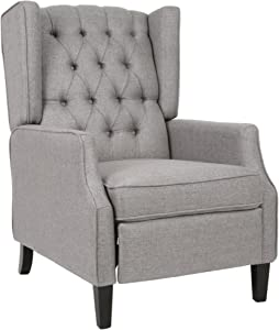 Christopher Knight Home Diana Wingback Recliner, Gray + Dark Brown