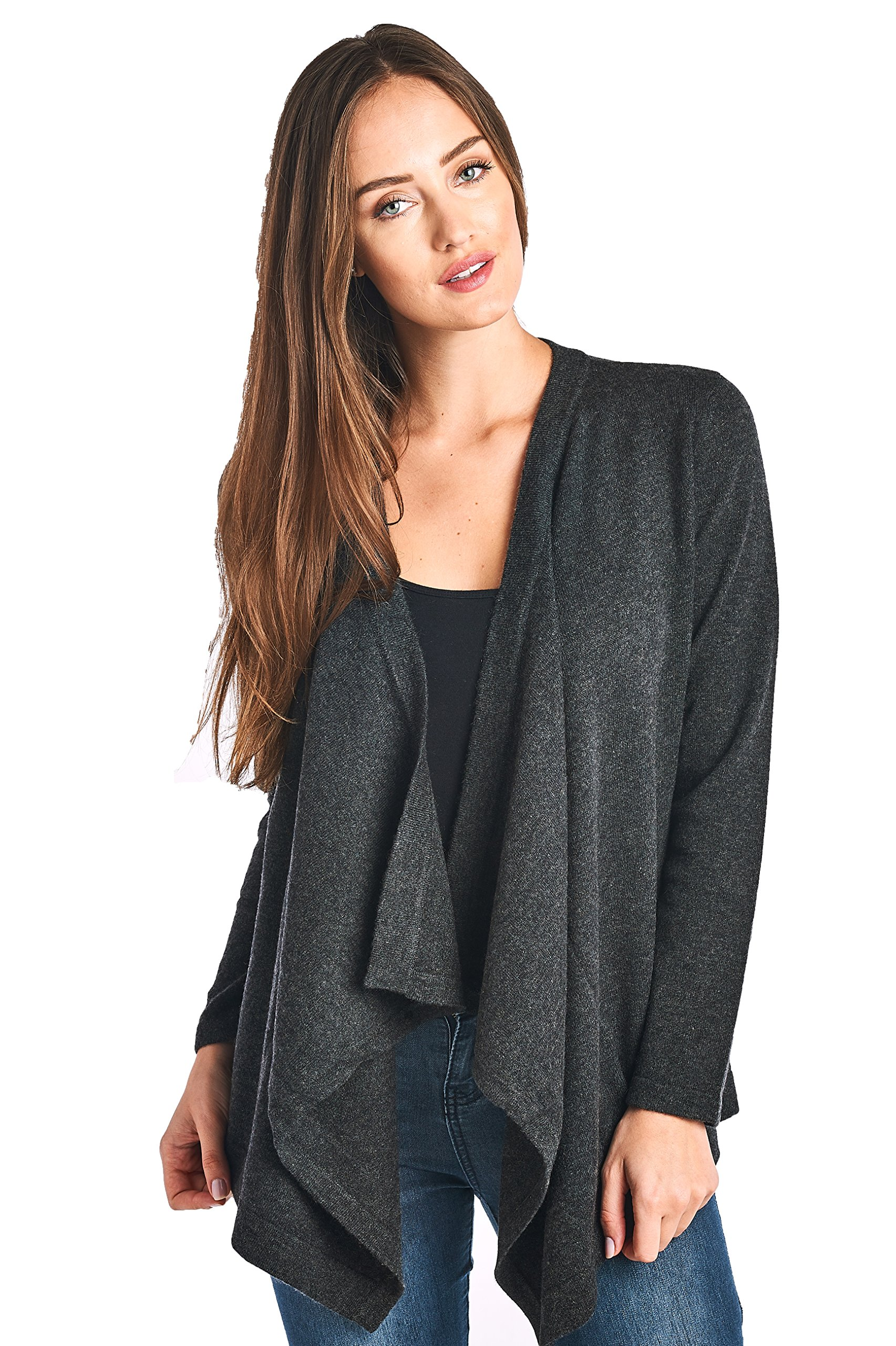 High Style Women's 100% Cashmere Long Sleeve Drape Front Asym Hem Open Cardigan Sweater (17619, Charcoal, M)
